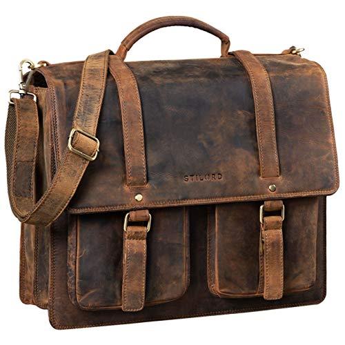 STILORD 'Fernando' Ledertasche Aktentasche Vintage Große Umhängetasche für Lehrer Business Laptoptasche Trolley Aufsteckbar Echtes Leder, Farbe:mittel - braun
