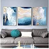 Modern Abstract Gold foil River Blue Canvas Art Paintings