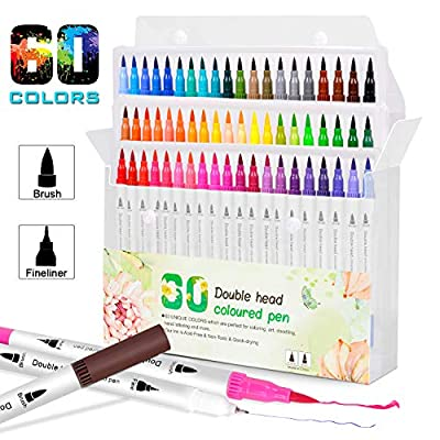 JUWINEN 60 Colors Dual Tip Markers and Brush Highlighter Calligraphy Pens Set Watercolor Markers Pens for Adult Children kids Student Artist Coloring books Valentine's Day and Back To School Gifts