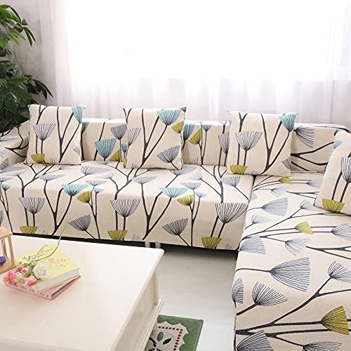 HYSENM fodera per divano 1/2/3/4 posti fodera per divano motivo floreale elasticizzato morbido elasticizzato, 4 posti 235-300cm Dente Di Leone