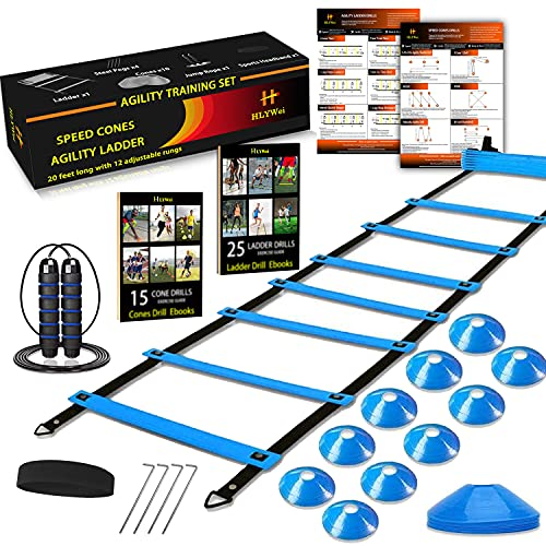 Speed Agility Training Set, Includes 1 Agility Ladder, 4 Steel Stakes, 1 Sports Headband,1 Jump Rope, 10 Disc Cones and Gym Carry Bag - Speed Training Equipment for Soccer Football Basketball (Blue)