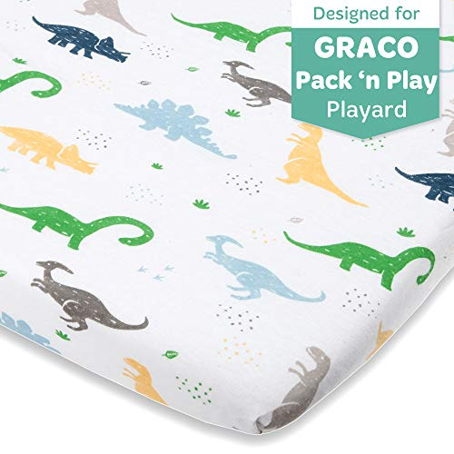 Lowest Prices! Dinosaur Fitted Pack and Play Playard Sheets Compatible with Graco Pack n Play, Chicc...