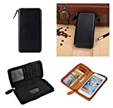 DFV mobile - Executive Wallet Case with Magnetic Fixation and Zipper Closure for LG Optimus L4 II - Black