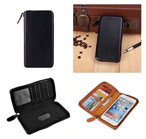 DFVmobile - Executive Wallet Case with Magnetic Fixation and Zipper Closure for Nokia Lumia 925 - Black