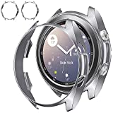 [2 Pack] Tensea Compatible with Galaxy Watch 3 45mm Case, 2 Packs Shock Absorption Cover [ No Screen Protector ] Soft TPU Bumper Shell for Samsung Galaxy Watch3 45 Accessories (Silver, 45 mm)