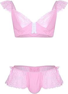 Freebily Men's 2 Pieces Lingerie Set Ruffled Lace Bra Top with Skirted Panties Sissy Nightwear