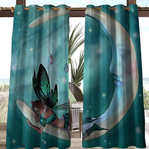 Anmaseven Moon Polyester Heat Durable Curtains for Thermal Insulated Privacy Protected Mythical Elf with Wings Design 108' W by 96' L(K274cm x G243cm)