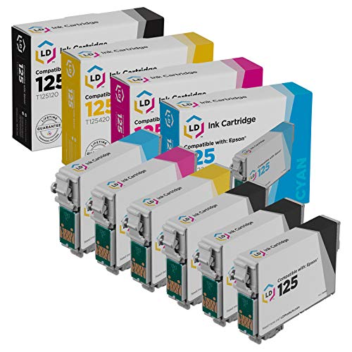 LD Remanufactured Ink Cartridge Replacement for Epson 125 (3 Black, 1 Cyan, 1 Magenta, 1 Yellow, 6-Pack)