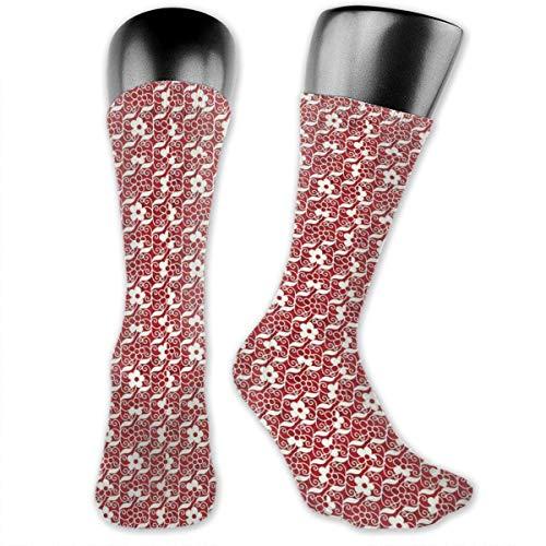 Papalikz Compression Medium Calf Socks,Spiral Vortex Cross Vine Leaf And Flowers Botanical Cultural Old Fashioned