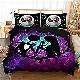 Wongs bedding - Set copripiumino ispirato a The Nightmare Before Christmas, Microfibra, Purple Jack, King size