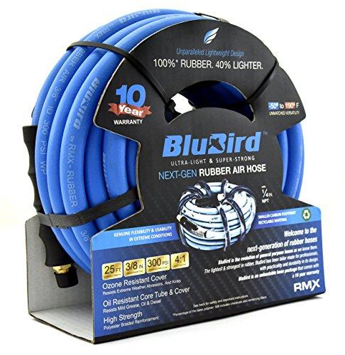 BluBird Lightest, Strongest, Most Flexible Rubber Air Hose (3/8