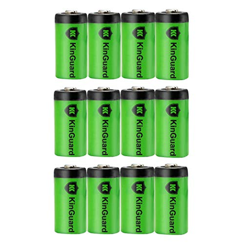 CR123A 3V Lithium Battery KinGuard 12 Pack 1500mAh Non-Rechargeable Li-ion Batteries PTC Protection for Arlo Cameras, Flashlights