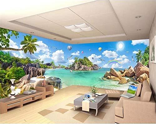 Papel pintado personalizado 3D grandes murales isla del arco iris palma paisaje marino pintura casa fondo papel de pared 3d Papel de parede