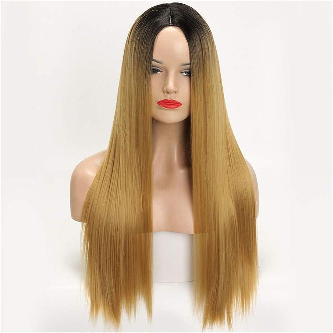 争いきれいに不潔かつらロングストレートヘア女性勾配化学繊維フードオンブルブラックブロンドロングストレート高温合成繊維ウィッグ女性用ウィッグ30インチ