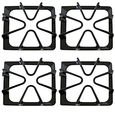 Kitchen Basics 101: 4 Pack Gloss Black Oven Stove Range Burner Grates Replacement for Whirlpool 8522858 / WP8522858 8053456 / WP8053456 WPW10447925