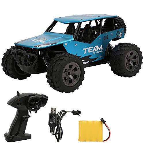RC Cars, Carro de Control Remoto, 1:18 Aleación 2.4G Alta Velocidad Rock Off-Road Racing Monster Vehículo Crawler de Carga Coches de Juguete para niños para niños y niñas(Azul)