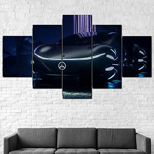 5 Teilig Bilder Leinwand,Leinwanddrucke 5 Stück,Leinwanddrucke Wanddekoratio 5 Teiliges Wandbild,Bilder Wohnzimmer Modern Mit Rahmen,3D Xxl Bilder,Wohnzimmer,150X80Cm Merced Ben Vision Zukunftsauto