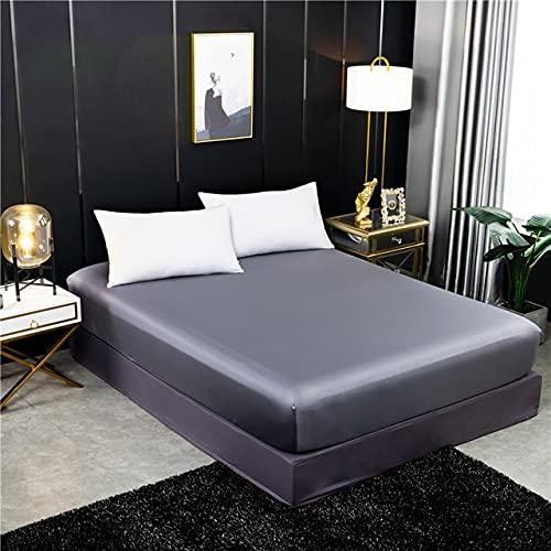 LINSO Sábana Ajustable de Seda Funda de colchón de Seda Real de Color sólido Sábana de Cama con Banda elástica Doble tamaño Queen