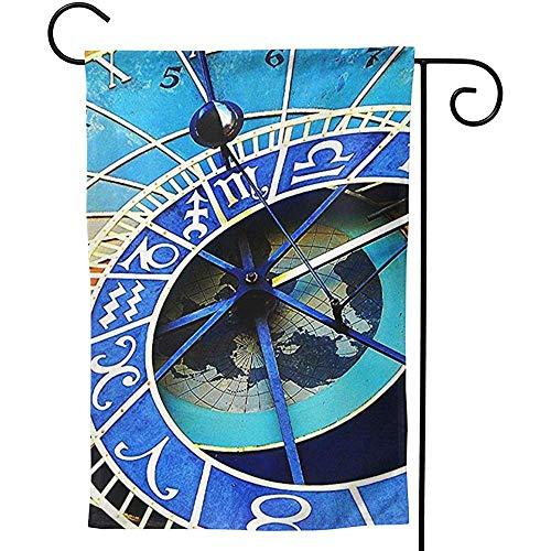 CHANGSHABF Tuinvlag Praag Astronomische Klok, Premium Dubbele Zijde, Seizoensgebonden Lente Zomer Outdoor Grappige Tuinwerf Gazon Decoratieve Vlaggen 30x45cm