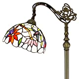 Tiffany Style Reading Floor Lamp Lighting W12H64 Inch White Stained Glass Hummingbird Lampshade Antique Adjustable Arched Standing Base S801 WERFACTORY LAMPS Girlfriend Lover Bedroom Living Room Gifts