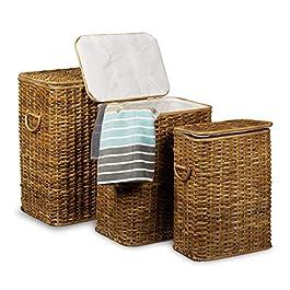 Relaxdays Panier à linge lot de 3 corbeille à linge en rotin tressé rectangulaire coffre à linge HxlxP: 545 x 455 x 335…