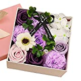 Rose Small Square Box Exquisite Blumenbox mit Duft Rose Seife Flower Rose Small Square Box (lila)