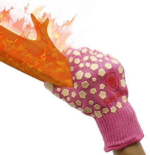 Charmyth Extreme Heat Resistant Gloves Cooking Kitchen Wood Burning Oven Gloves for Oven Mitts BBQ Gloves Heat Resistant Protective for Grilling Women 1 Pair Pink