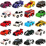 Liberty Imports 20 Assorted Pull Back Cars Deluxe Gift Pack Play Set - Colorful Mini Micro Toy Cars - Racing Vehicles, Police, Firetruck, Ambulance, and More!