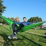 LACHUMU Hamaca de camping portátil para una persona, hamaca de paracaídas, columpio para interior y exterior, ocio, camping, cama, hamaca, hamaca, hamaca de 230 x 90 cm, color verde claro