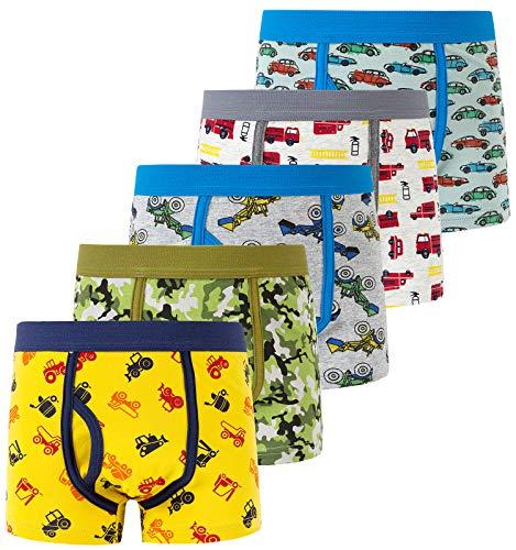 Auranso Boys Boxer Briefs Toddler Kids Underwear 5 Pack Dinosaur Truck...