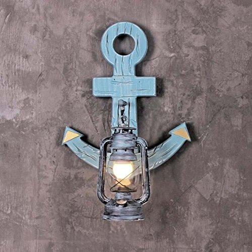 Lámpara de keroseno mediterránea antigua luz de la pared de madera maciza tema restaurante Bar luz creativa personalidad del barco ancla lámpara de pared yd&h