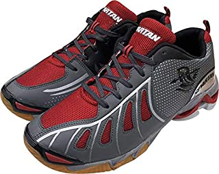 Spartan Badminton/Volleyball Shoes for Men (Grey Red)