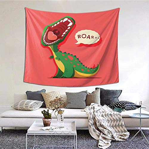 kThrones Tapestry,Aggressive Prehistoric Cartoon Animal Roaring Open Mouth Tapestry Wall Hanging as Wall Art and Home Decor for Bedroom,Living Room,Dorm Decor for Thanksgiving,Christmas 152cmx130cm