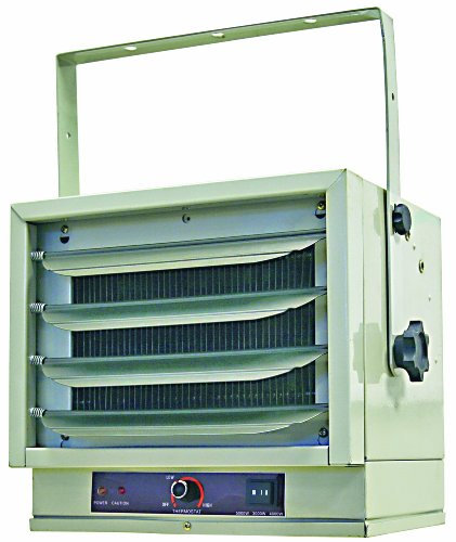 CCC Comfort Zone Industrial Steel Electric Ceiling Mount Heater, 3 Heat Levels up to 5,000 watts, White