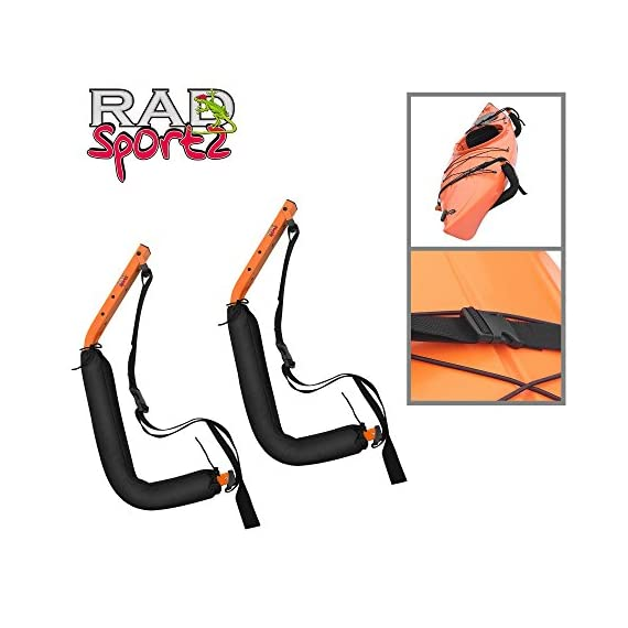 Kayak Storage Hooks – Wall Mount Garage Hangers with 125 lb Capacity for Kayaks or Paddleboards by Rad Sportz 5 KAYAK WALL MOUNT – The hangers provide an easy way to mount your kayak or paddleboard neatly on the wall of your garage or shed SECURE STORAGE – Constructed from sturdy powder coated steel, and equipped with nylon holding straps and clips, the hooks can be mounted right into your wall studs to safely store equipment up to 125-pounds FOAM PADDED HOOKS – The hooks are designed with a foam padding to protect your kayak or sporting equipment from scratches
