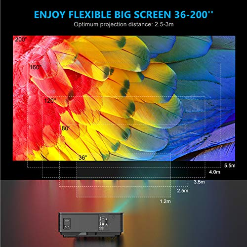 Projector, WiMiUS P18 Upgraded 6500 Lumens LED Movie Projector 1080P Full HD Support 200
