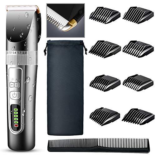 Cortapelos profesional para hombre, cortapelos inalámbrico recargable, recortador de barba, afeitadora eléctrica, pantalla LED impermeable para hombres y familiares