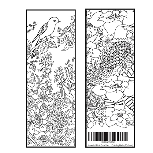 Beautiful Birds Color Your Own Bookmarks Anti Stress Art Therapy Adult Coloring Now Without Gloss Finish for All Coloring Media Front and Back (50 Count)