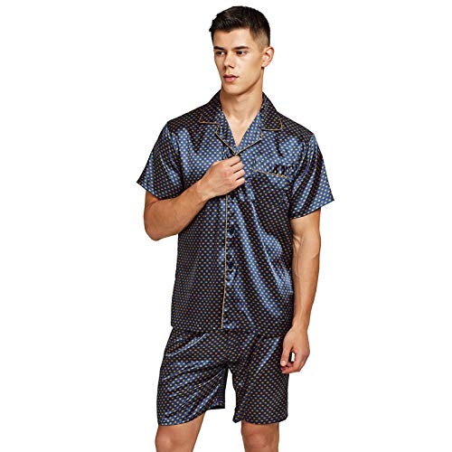 Home + Schlafanzug Satin Seide Pyjama Shorts Für Männer Rayon Seide Nachtwäsche Sommer Männliche Pyjama Set Weiche Nachthemd Für Männer Pyjamas XXL