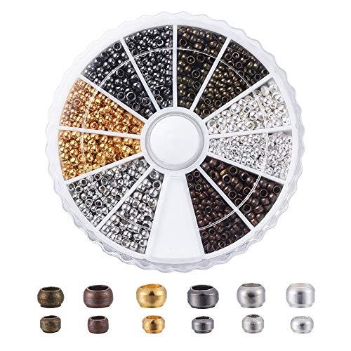 CYUaoao 1 Boîte de Perles à Écraser en Laiton 2640 Pièces de 6 Couleurs Mini Perles à Sertir Rondes de Style Rétro - Accessoires de Bricolage pour la Fabrication de Bijoux - Diamètre 2mm et 2,5mm