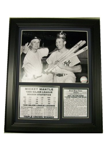 FRAMED MICKEY MANTLE 1956 TRIPLE CROWN AWARD WINNER 8X10 PHOTO NEW YORK YANKEES