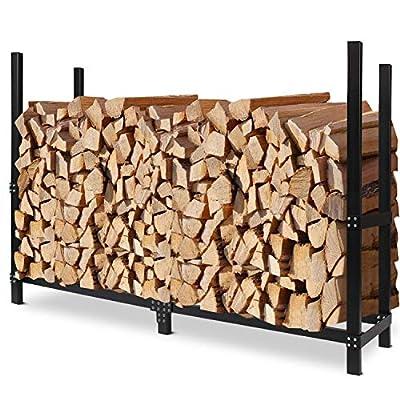 INNO STAGE 6ft Firewood Log Rack, Outdoor Wood Storage Holder Adjustable Black Firewood Rack …