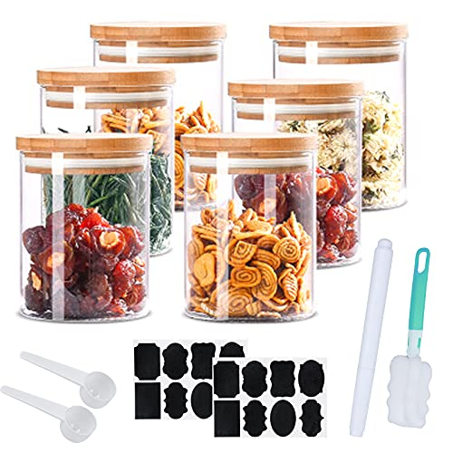 Frascos de almacenamiento de 380 ml, juego de 6 recipientes de vidrio herméticos hechos de frascos de vidrio con tapa, frascos de especias 100% sellados, aptos para lavavajillas