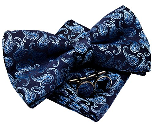 Retreez Herren Gewebte vorgebundene Fliege Klassische Paisley 13 cm und Einstecktuch und Manschettenknöpfe im Set, Geschenkset, e - marineblau und blau