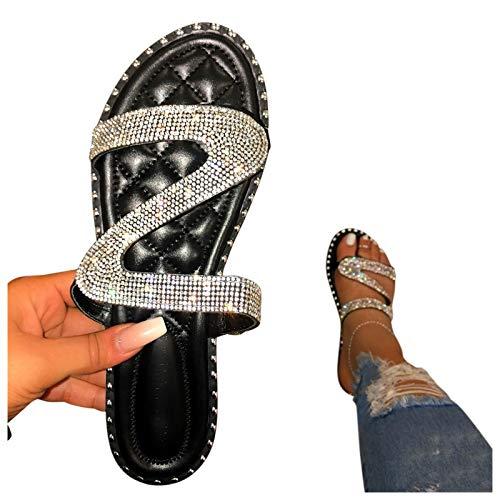 Xiangdanful Sandalen Damen mit Absatz Sommer Pumps High Heels Sandaletten Strass Elegante Pumps Glitzer Hausschuh Slipper Sandals Abendschuhe Flip Flops Sommerschuhe