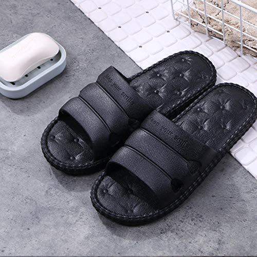 QPPQ Zapatillas para el hogar súper suaves, antideslizantes y cómodas, sandalias antideslizantes para el baño, color negro (6,5-7), zapatillas de masaje antideslizantes