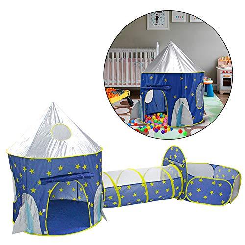 RZH 3 EN 1 Carpa Infantil Portátil Cohete Nave Espacial Carpa para Niños con un Túnel Piscina Seca Plegable Tipi Interior Casa de Juegos para Carpas para Niños