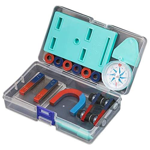 BSTQC Juego Imanes, Los niños de la ciencia de imán conjunto de barra anillo de herradura brújula coche kit de niños experimentos educativos herramientas