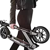 N / A Kick Scooter Load 200kg For Adult Teenager Men Women, Commuting 200mm Big Wheels Scooter With Disc Brakes, Dual Suspension Folding Commuter Scooter With Carry Bag,Non-Electric(Size:Black)