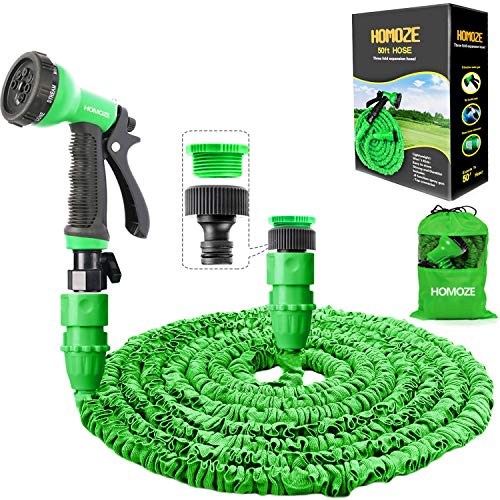 "HOMOZE Garden Hose Pipe 50 FT Expandable Garden Hose with 3/4"", 1/2"" Fittings, Anti-leakage - Flexible Expanding Hose with 8 Function Spray Nozzle (Green)"